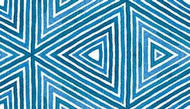 Blå geometrisk vattenfärg seamless gullig modell Hand drog band Borstetextur Obefläckade Chev royaltyfria foton