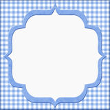 Blå gingham behandla som ett barn ramen för din meddelande eller inbjudan Royaltyfria Foton