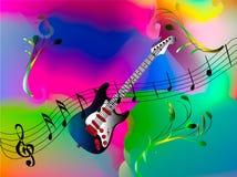 Blå gitarr med musikanmärkningar Arkivbild