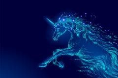 Blå glödande stjärna för himmel för natt för hästenhörningridning Gör mellanslag glänsande kosmos för idérik bakgrund för garneri royaltyfri illustrationer