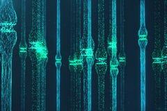 blå glödande synapse för tolkning 3D Konstgjord neuron i begrepp av konstgjord intelligens Synaptic överföringslinjer stock illustrationer