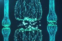 Blå glödande synapse Konstgjord neuron i begrepp av konstgjord intelligens Synaptic överföringslinjer av pulsar vektor illustrationer