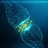 Blå glödande synapse Konstgjord neuron i begrepp av konstgjord intelligens Synaptic överföringslinjer av pulsar Arkivbild