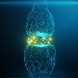 Blå glödande synapse Konstgjord neuron i begrepp av konstgjord intelligens Synaptic överföringslinjer av pulsar Arkivfoto
