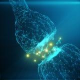 Blå glödande synapse Konstgjord neuron i begrepp av konstgjord intelligens Synaptic överföringslinjer av pulsar Royaltyfria Foton