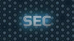 Blå glödande text på bitcoin och alt myntar sexhörningssymbolbakgrund stock illustrationer