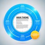 Blå glansig cirkel med 4 olika alternativ Pilar från en till annan visar förhållandet av idéer Arkivbild