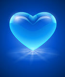 Blå glass hjärta Fotografering för Bildbyråer