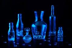 blå glass livstid fortfarande Royaltyfri Foto