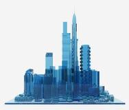 Blå glass stad framförande 3d Arkivbilder