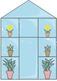 blå glass växthusgrungelampa Arkivbilder