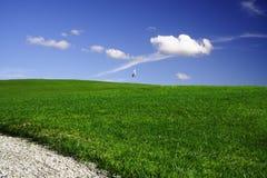 blå golfgreenwhite Royaltyfri Fotografi