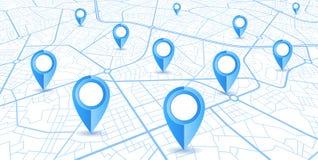 Blå GPS navigatördesign vektor illustrationer