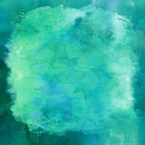 Blå gräsplan Aqua Teal Turquoise Watercolor Paper Background royaltyfri bild