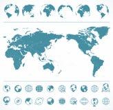 Blå gräsplan för världskarta och jordklot - Asien i mitt royaltyfri illustrationer