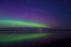 Blå gräsplan och det magentafärgade norrskenet reflekterade över en sjö Arkivfoto