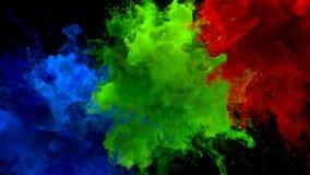 Blå grön matte för alfabetisk för vätska för explosioner för rök för bristning för röd färg åtskillig färgrik stock illustrationer