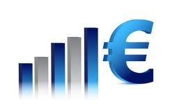 blå graf för affärsvalutaeuro Arkivfoto