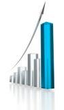 blå graf för pil upp stock illustrationer