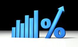 blå grafprocentsats Arkivbild