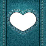 Blå grov bomullstvill för hjärta Arkivbilder