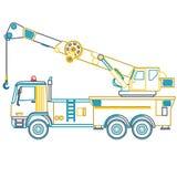 Blå gul översiktskran med kroken och armen på vit Arkivfoton