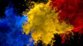 Blå gul matte för alfabetisk för vätska för explosioner för rök för bristning för röd färg åtskillig färgrik vektor illustrationer
