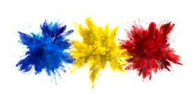 Blå gul matte för alfabetisk för vätska för explosioner för rök för bristning för röd färg åtskillig färgrik royaltyfri illustrationer
