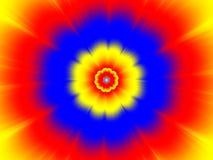Bl?, gul och r?d blomma stock illustrationer