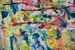 Blå gul vit målarfärg, vitt vax, abstrakt bakgrund för vattenfärg Arkivbild
