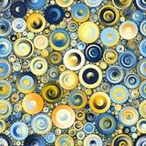 Blå guling cirklar den sömlösa modellmosaiken Royaltyfria Bilder