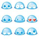 Blå gullig emoticon 9set - royaltyfri illustrationer