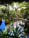 Blå härlig färg Marrakesch Marrokko för sjöträdgårdgräsplan royaltyfri fotografi
