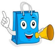 Blå hållande megafon för shoppingpåse Fotografering för Bildbyråer