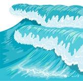 Blå hög havvåg Svallvågvåg Royaltyfri Foto