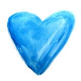 Blå hand dragen vattenfärghjärta