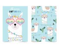 Blå hand dragit gulligt kort med laman, hjärtaexponeringsglas och kaktuns royaltyfri illustrationer