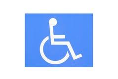 Blå handikappparkering Arkivfoto