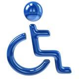 Blå handikappsymbol Royaltyfria Foton
