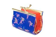 blå handväska Arkivfoto