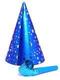 blå hattnoisemakerdeltagare Arkivbild