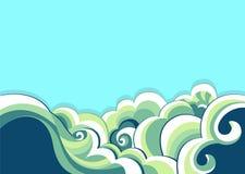 Blå havs- och naturbakgrund. Vektorillustration Arkivfoto