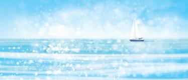 Blå havsbakgrund och yacht för vektor royaltyfri illustrationer