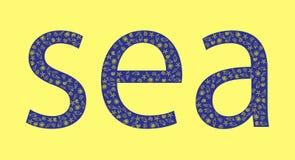 Blå havsinskrift på en gul bakgrund med skal vektor illustrationer