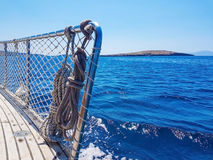 blå havssikt från däck Royaltyfria Bilder