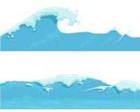 Blå havvåg, jätte- våg royaltyfri illustrationer