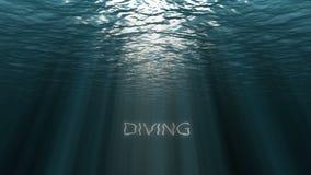 Blå havyttersida som ses från undervattens- med textDYKNING, begrepp av loppet royaltyfri illustrationer
