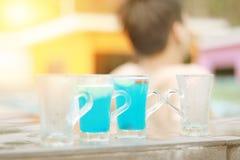 Blå hawaii coctail, blått hawaii för coctail för sommarsemester Arkivbilder