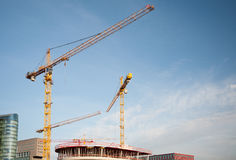 Blå himmel för konstruktionstornkranar Royaltyfri Bild