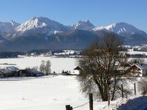 Blå himmel för stål över vinterlandskap i sydlig Tyskland arkivfoto